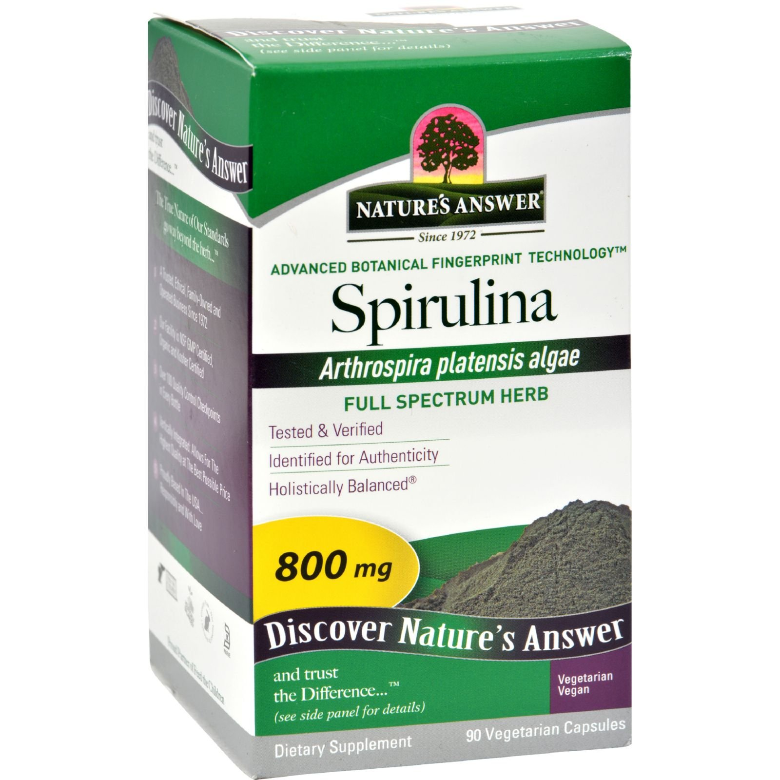 Natures Answer Spirulina - Promotes a Healthy Body - 800 mg - Tested - 90 Vegetarian Capsules (Pack of 3)