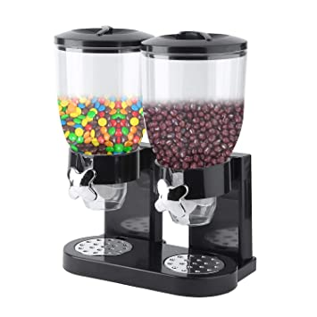 Cereal Dispenser, 2 Tanks Dry Food Dispenser, Double Chambers Airtight Kitchen Storage,Twin