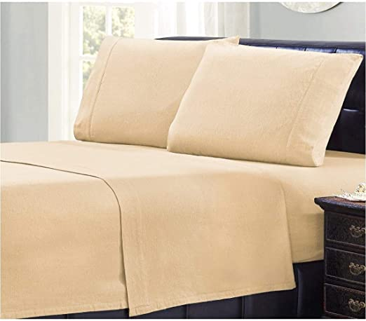 Amazon Com Mellanni 100 Cotton Flannel Sheet Set Lightweight 4 Pc Luxury Bed Sheets Cozy Soft Warm Breathable Bedding Deep Pockets All Around Elastic Cal King Beige Home Kitchen