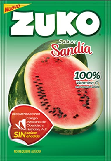 3 X ZUKO SANDIA Flavor No Sugar Needed Makes 2 Liters of Drink 15g From Mexico