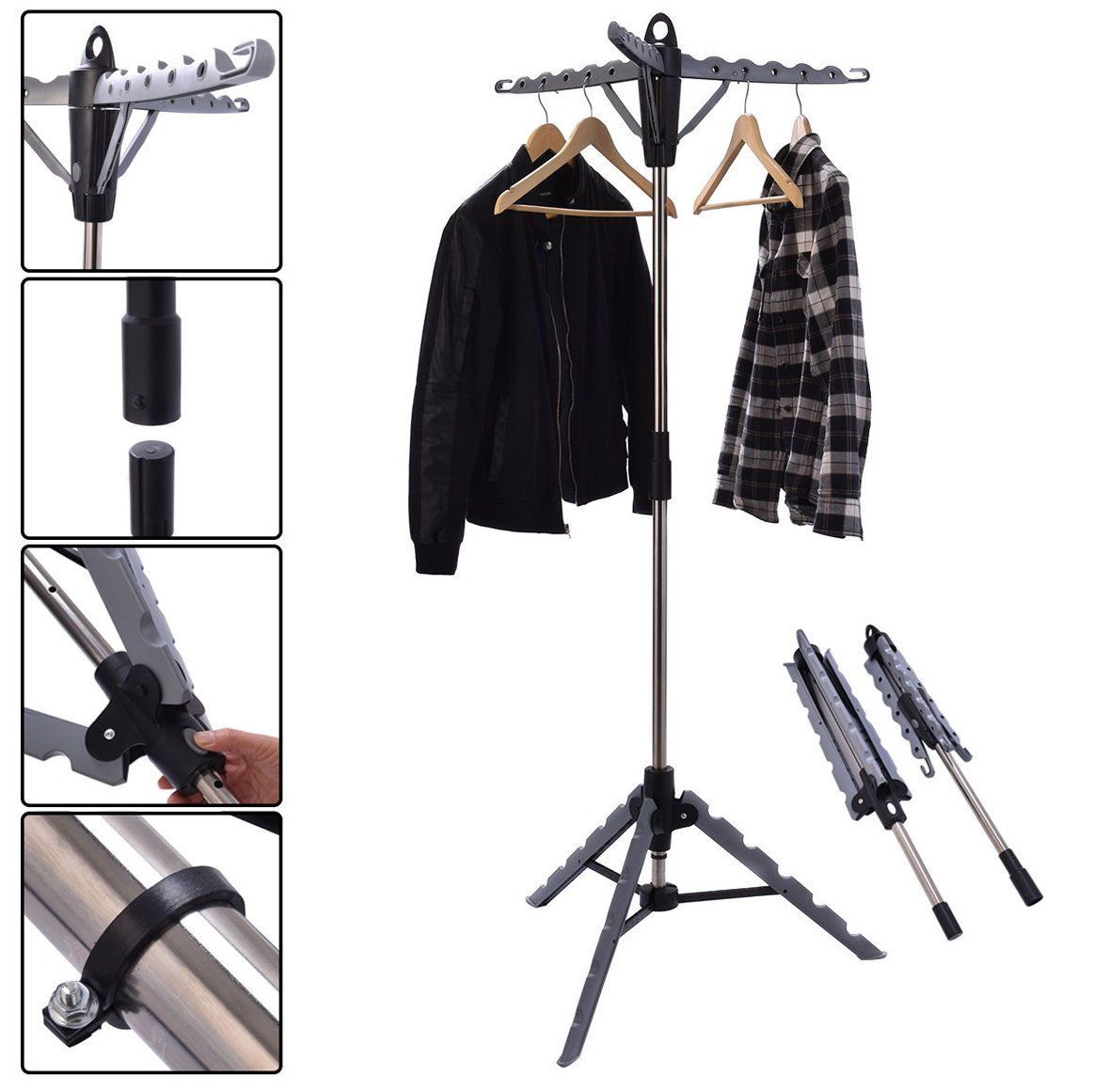 Clothes Hanger Drying Portable Multifunctional Retractable Laundry Racks Tripod by TF-Godung (Image #1)