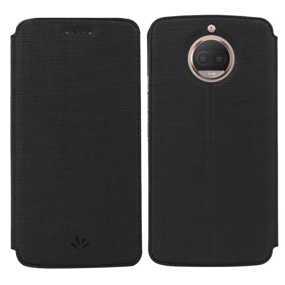 Feitenn Motorola Moto G5S Premium Flip Leather PU Wallet Smart Case Stand Kickstand Card Holder Magnetic Closure Clear TPU Bumper Slim thin Cover Case for Motorola Moto G5S (Black)