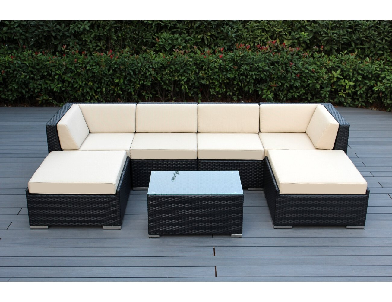 Genuine Ohana Outdoor Patio Wicker Furniture 7pc All Weather Gorgeous Couch  Set With BEIGE CUSHION: Amazon.ca: Patio, Lawn & Garden