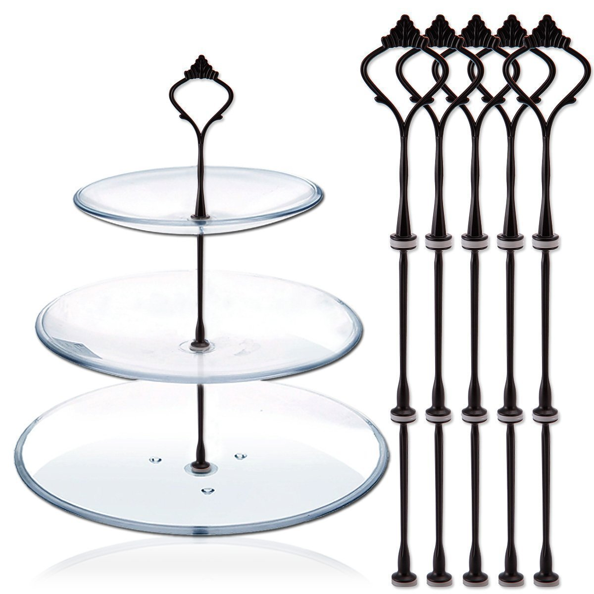 Plates Not Include Happy Will 5 Sets 3 Tier Crown Cake Stand Fruit Cake Plate Handle Fitting Hardware Rod Stand Holder with Stylus Black
