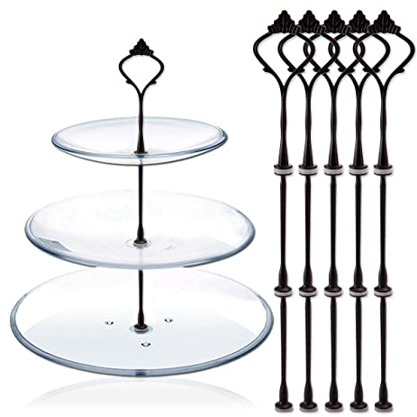 5 Sets 3 Tier Cake Plate Stand Handle Fittings Hardware Round Rod Black  sc 1 st  Amazon.com & Amazon.com | 5 Sets 3 Tier Cake Plate Stand Handle Fittings Hardware ...