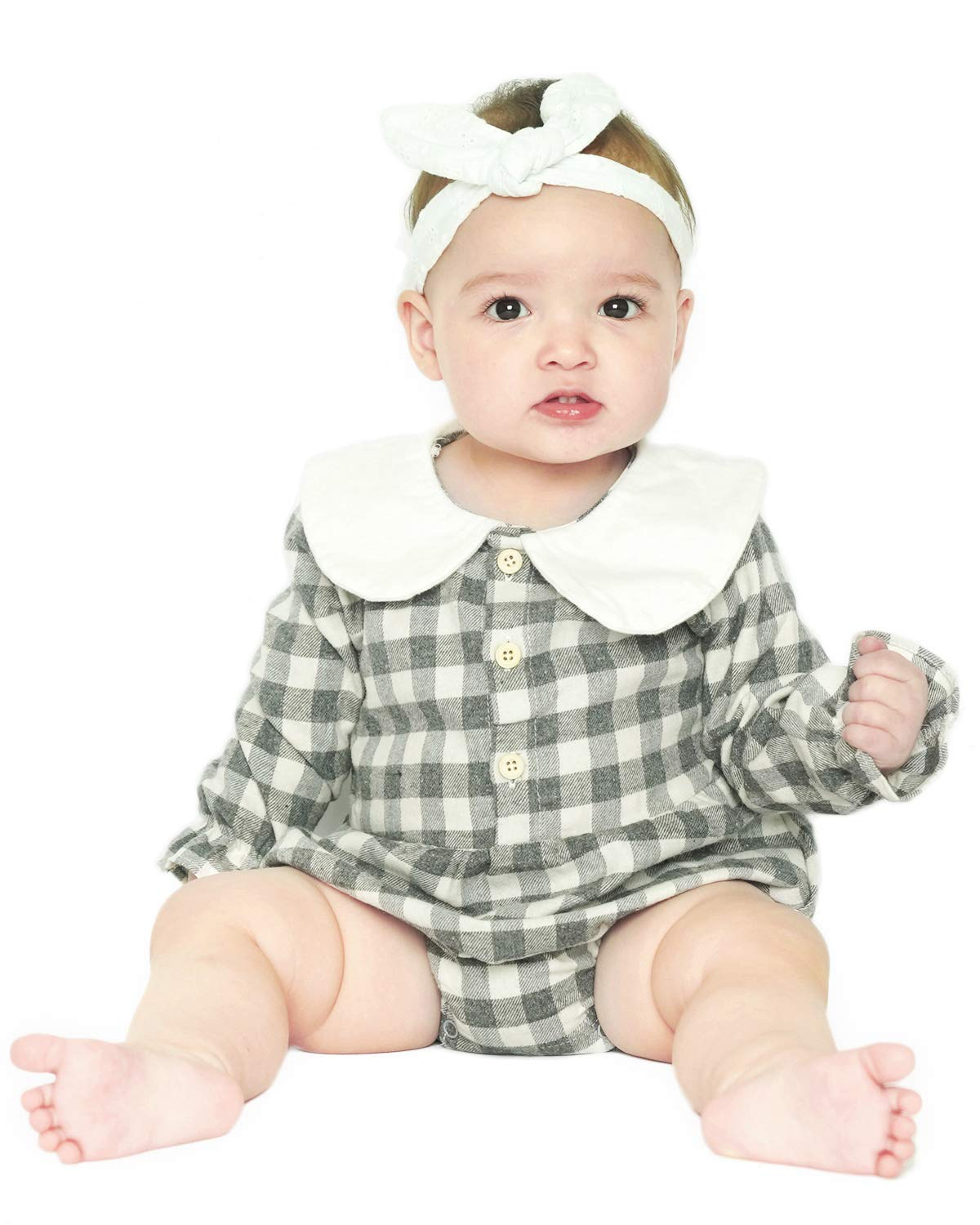 DeerBird Baby Girls Long Sleeve Bodysuits Rompers Plaid Infant Toddler Cotton Jumpsuits Size 6M Grey Plaid