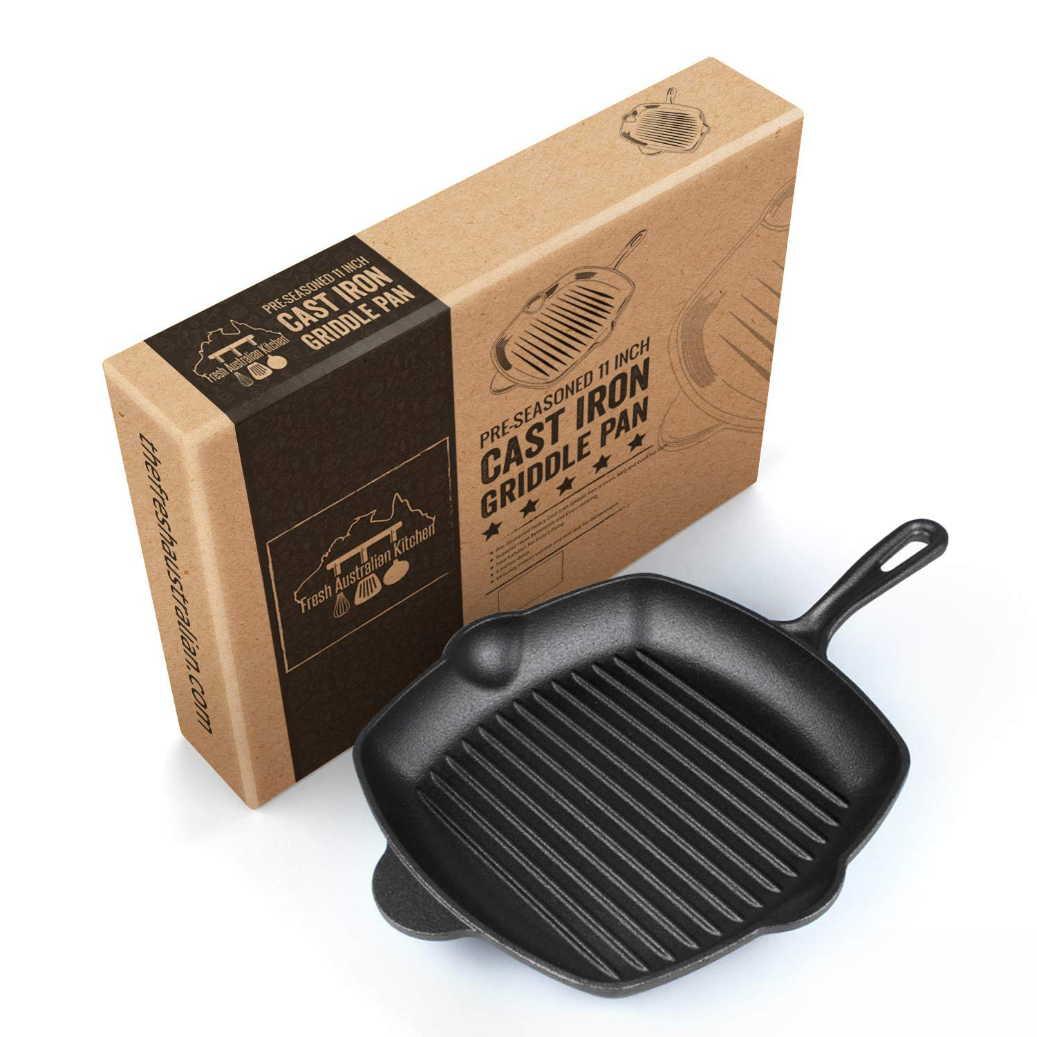 Pre-Seasoned Cast Iron Grill Skillet Pan 12 Inch (11 Inches Square). Stove and Oven Safe. For Camping and Barbecue. By Fresh Australian Kitchen.