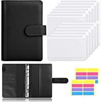 Skydue 12pcs Clear Plastic A6 Binder Envelopes with PU Leather 6 Ring Binder,Waterproof Cash Budget Envelopes System…