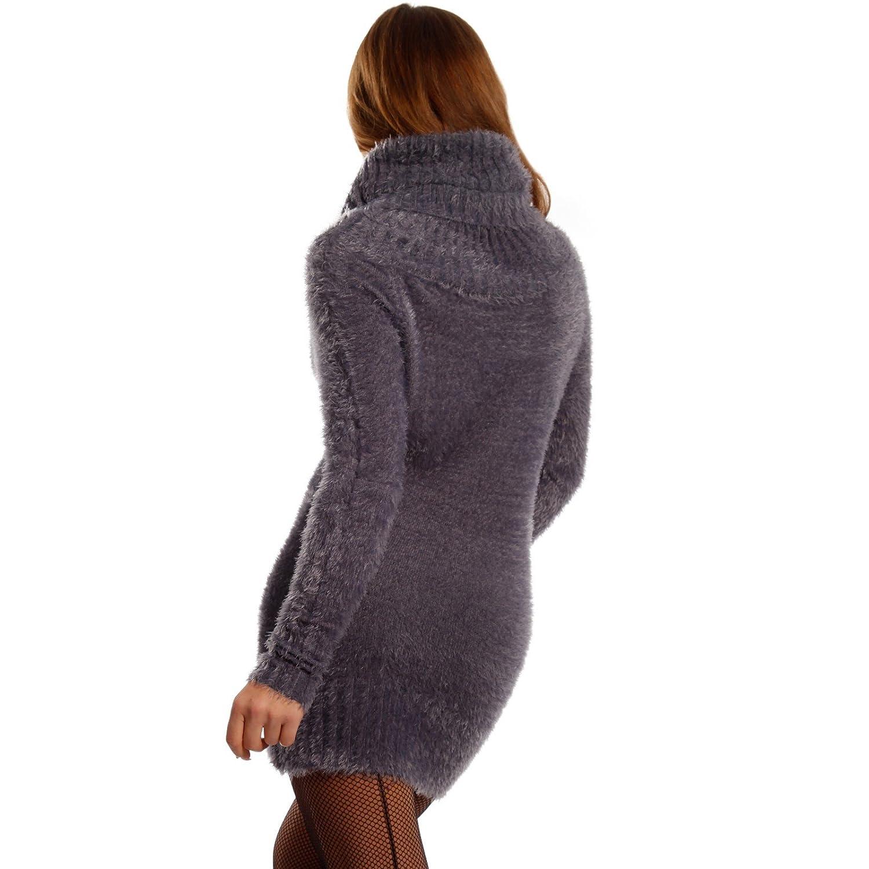 bd767f9c21 Young-Fashion Damen Pullover Kuscheliger Longpullover mit Rollkragen,  Farbe:Graublau;Größe:One Size: Amazon.de: Bekleidung