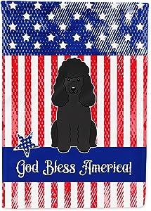 Caroline's Treasures BB3066GF Patriotic USA Poodle Black Flag Garden Size, Small, Multicolor