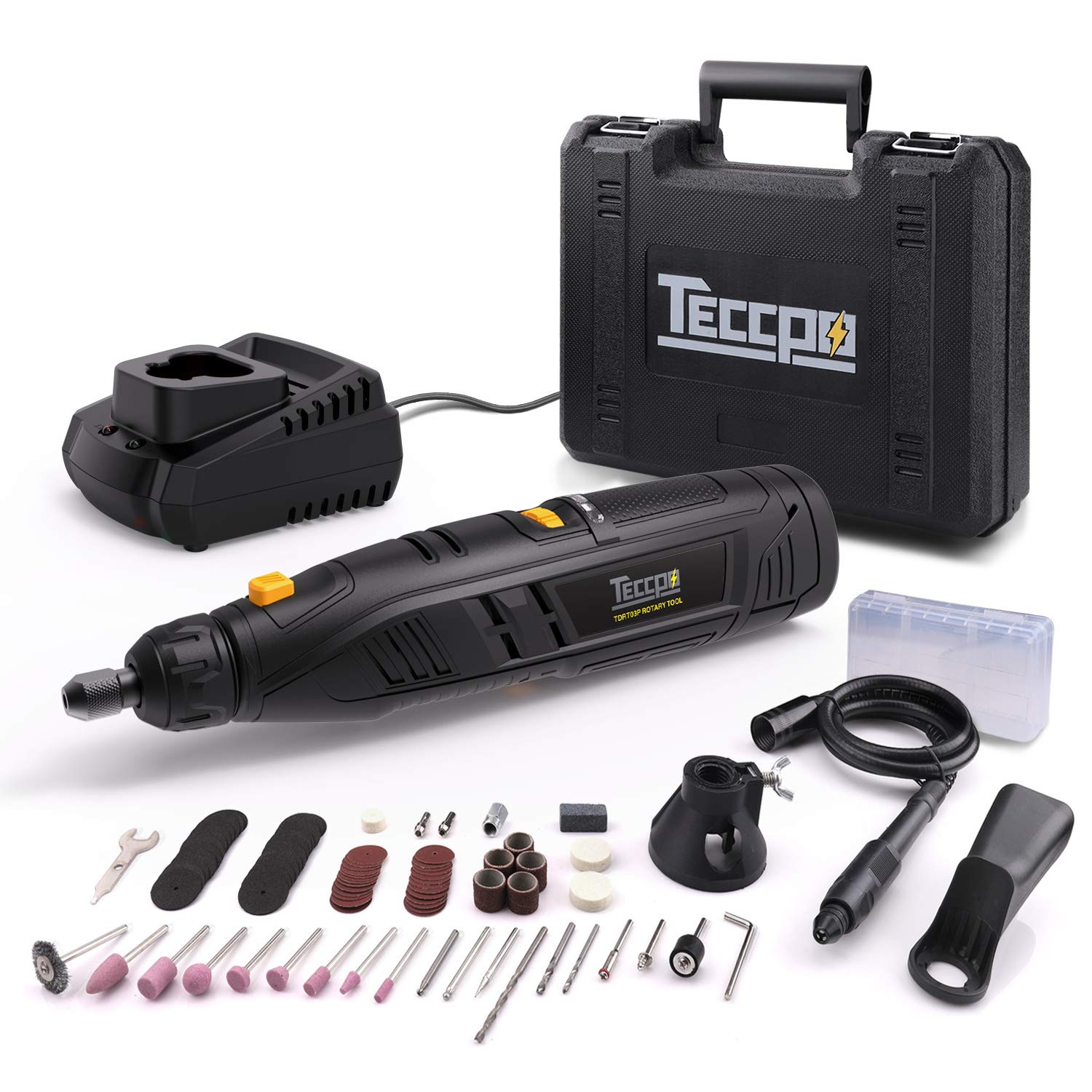 Rotary Tool TECCPO 12-Volt 2.0Ah Li Power Pack with 80pcs Accessories Variable Speed Multi-tool for Around-the-House, Crafting Projects and Fine Work TDRT03P