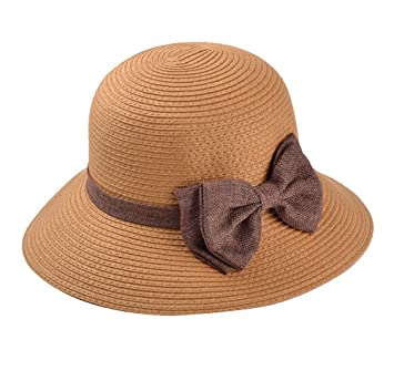 b1dd02adfd4 Butterme Fashion Women s Girls Wide Large Brim Summer Beach Dome Sun Hat  Straw Cap w  Cute Bowknot (Coffee)  Amazon.co.uk  Clothing