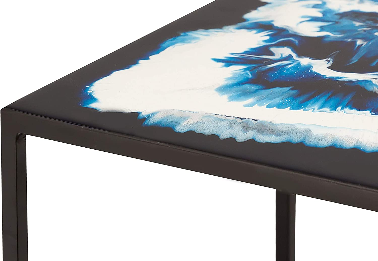 White//Yellow//Blue TOV Furniture Modern Living Room Enamel Top Nesting Table with Iron Legs 2 Piece