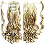 Beauty Wig World 22inch 55cm 90g Long Body Wave Clip In Pony Tail Hair Extension Wrap Around Ponytail Hair Piece - #F22/10 Light blonde/light brown