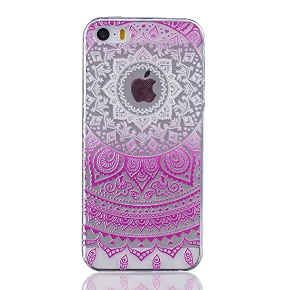 434f4b56503 iPhone 5 Case, TIPFLY Prime Clear Gradient Color Tribal Mandala Series  Ultra Thin Transparent TPU