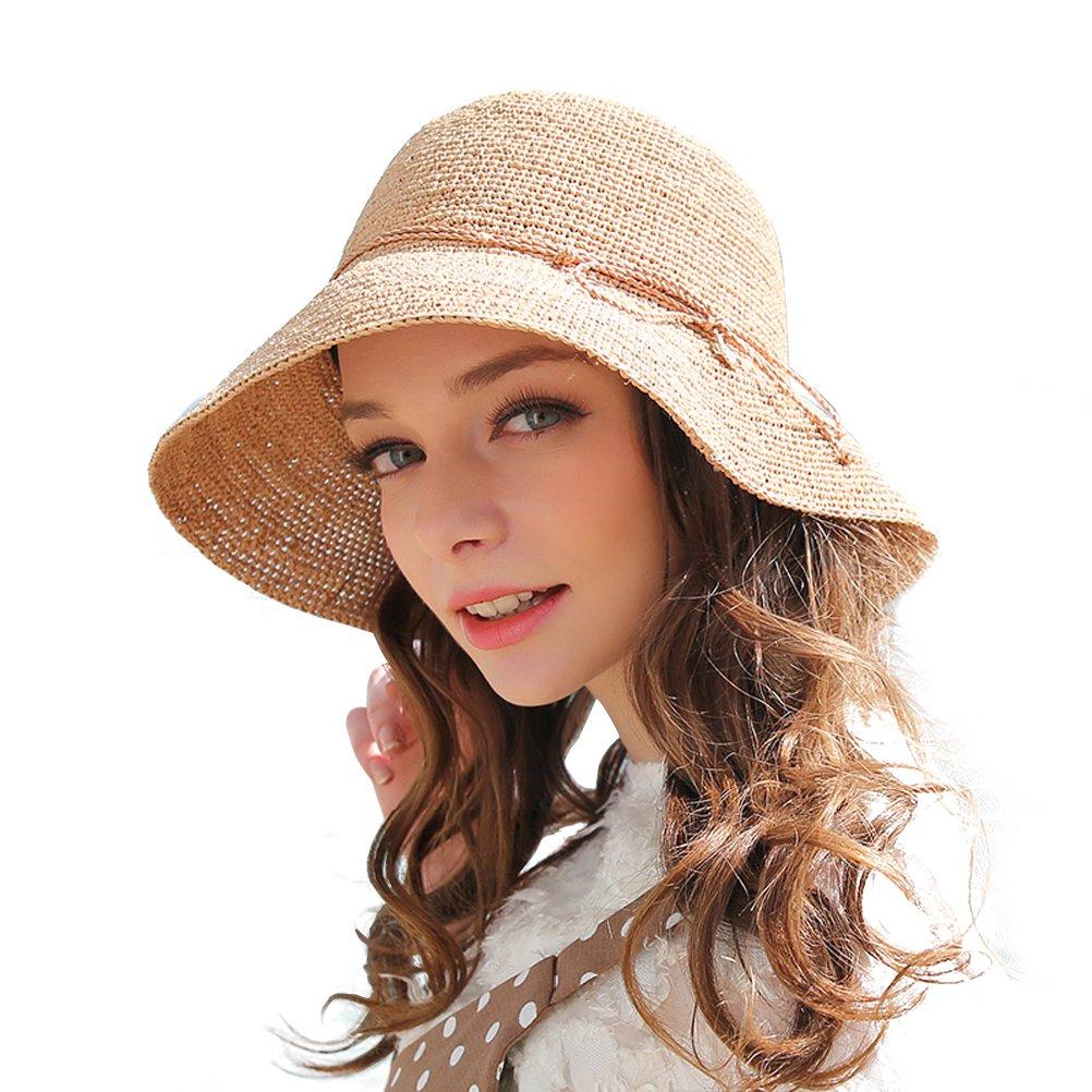 RIONA Women's Summer Hand-Woven Foldable Wide Brim Fisherman 100% Raffia Straw Sun Hat LFC100Beige