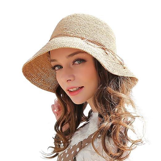 RIONA Women s Summer Hand-Woven Foldable Wide Brim Fisherman 100% Raffia  Straw Sun Hat 7577d82809be