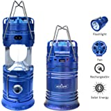 Acelane 4 in 1 Portable LED Camping Lantern Flashlights Rechargeable Light and Fan with USB Power Bank Survival Kit for Outdoor, Emergency, Hurricane, Outage
