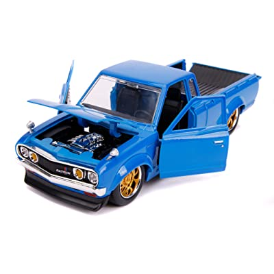 Datsun Pickup Truck Bright Blue with Gold Wheels JDM Tuners 1/24 Diecast Model Car by Jada 31603: Toys & Games