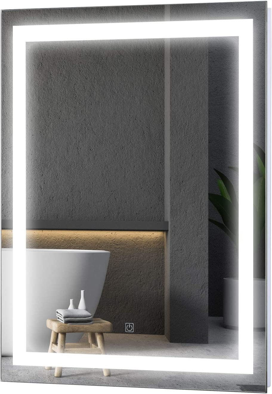 HOMCOM LED Wall Mount Bathroom Vanity Make Up Mirror
