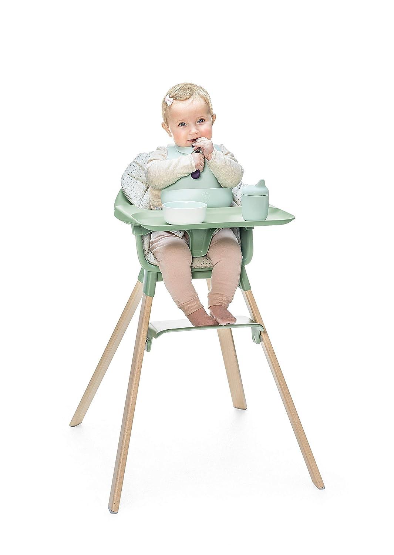 Babystuhl verstellbar und mitwachsend All-In-One Paket mit Tray und Sicherheitsgurt Farbe: Cloud Grey Geeignet ab 6 Monate bis 3 Jahre Stokke Clikk Kinder Hochstuhl