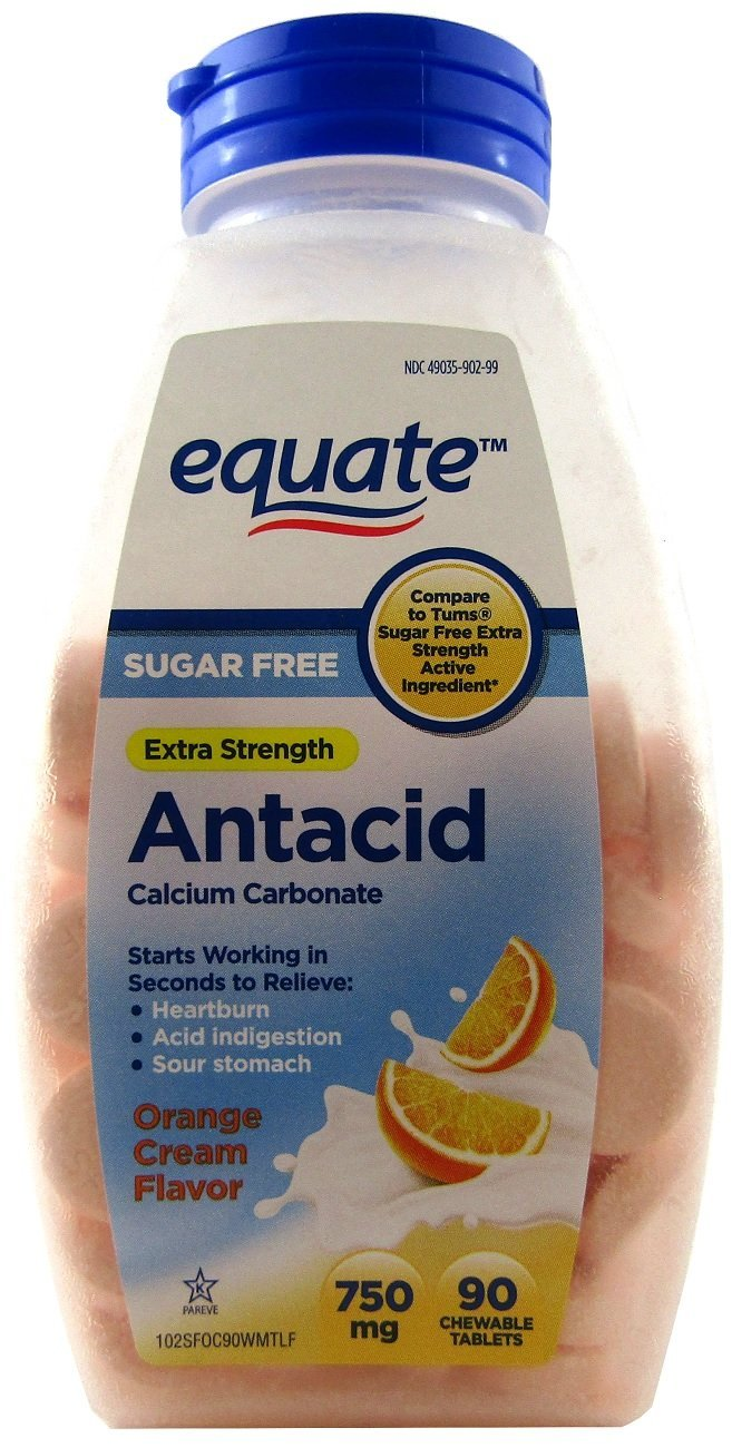 Equate Extra Strength Sugar Free Antacid Orange Cream Flavor, Chewable Tabs Compare to Tums, 750 mg, 90 Count