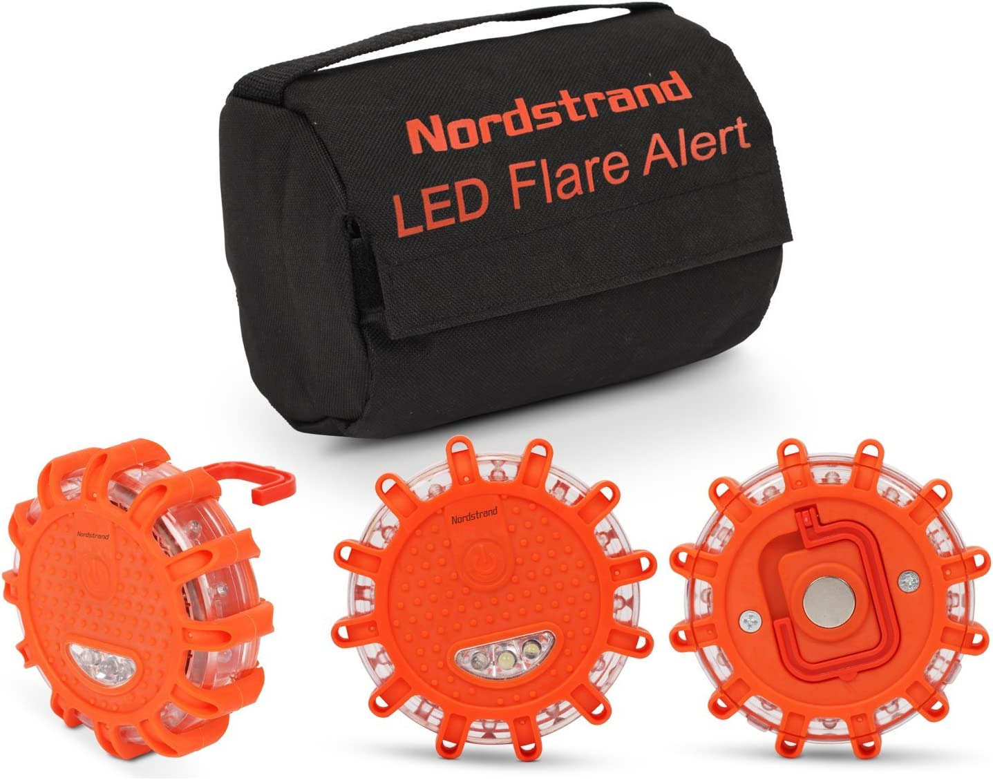 GoGoIT 3 PACK LED Road Flares Flashing Warning Roadside Flare Emergency Disc Beacon with Magnetic Base for Car,Boat,Bicycle //2 Year Warranty//FREE AAA BATTERIES*9//FREE BAG//PACK OF 3//Mini Screw Driver