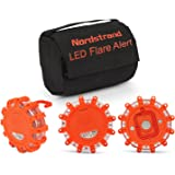 Nordstrand Road Flare Flashing Emergency Signal Warning LED Light Beacon with Magnetic Base - Pack of 3 with Storage Bag - Rainproof Amber