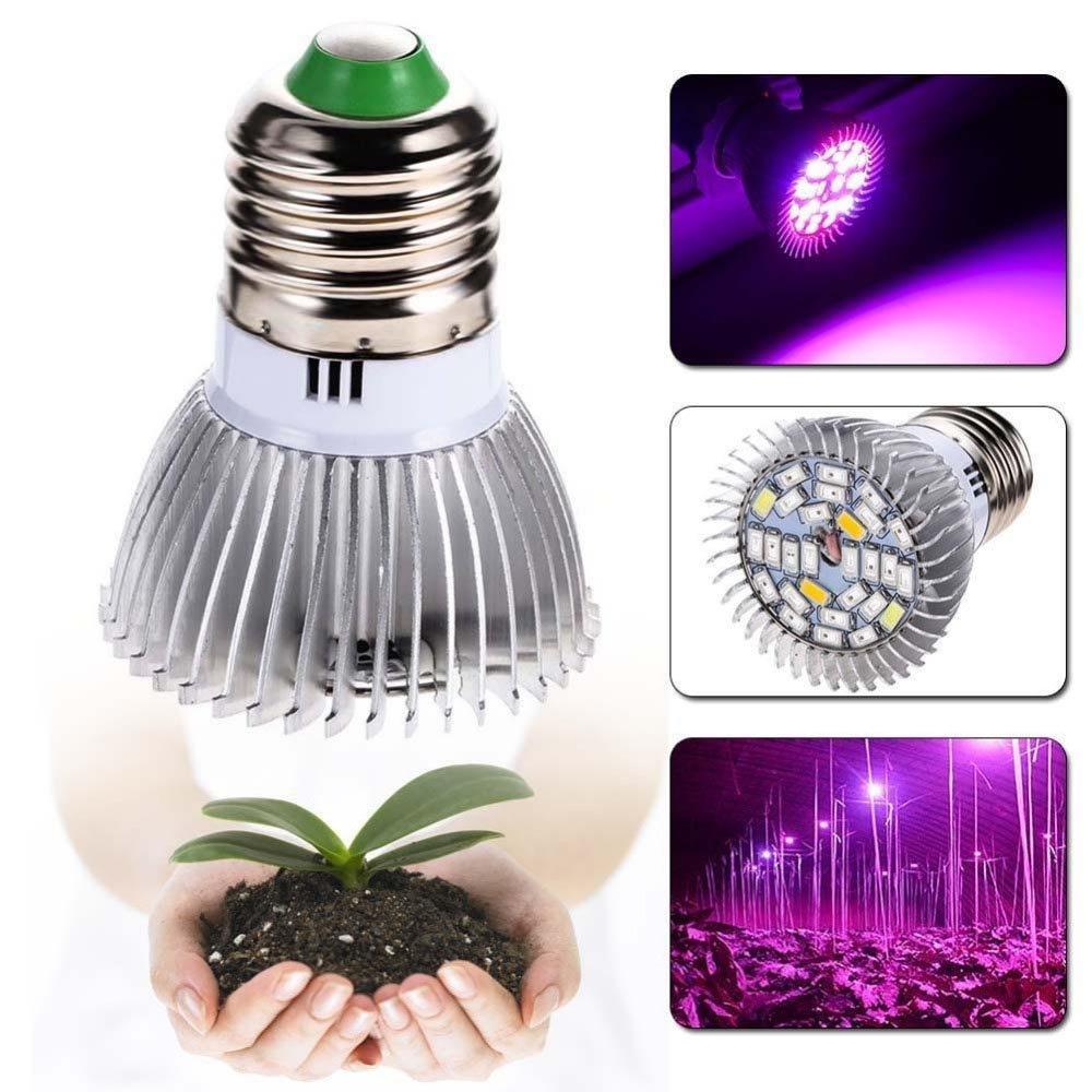 Esbaybulbs LED Pflanzenlampe E27 Glühbirnen 28W Vollspektrum Wachsen Grow Pflanzenlicht Pflanzen Lampen für Zimmerpflanze Wachsende Hydrokultur Gewächshaus Sukkulenten Lichter 4 Stück