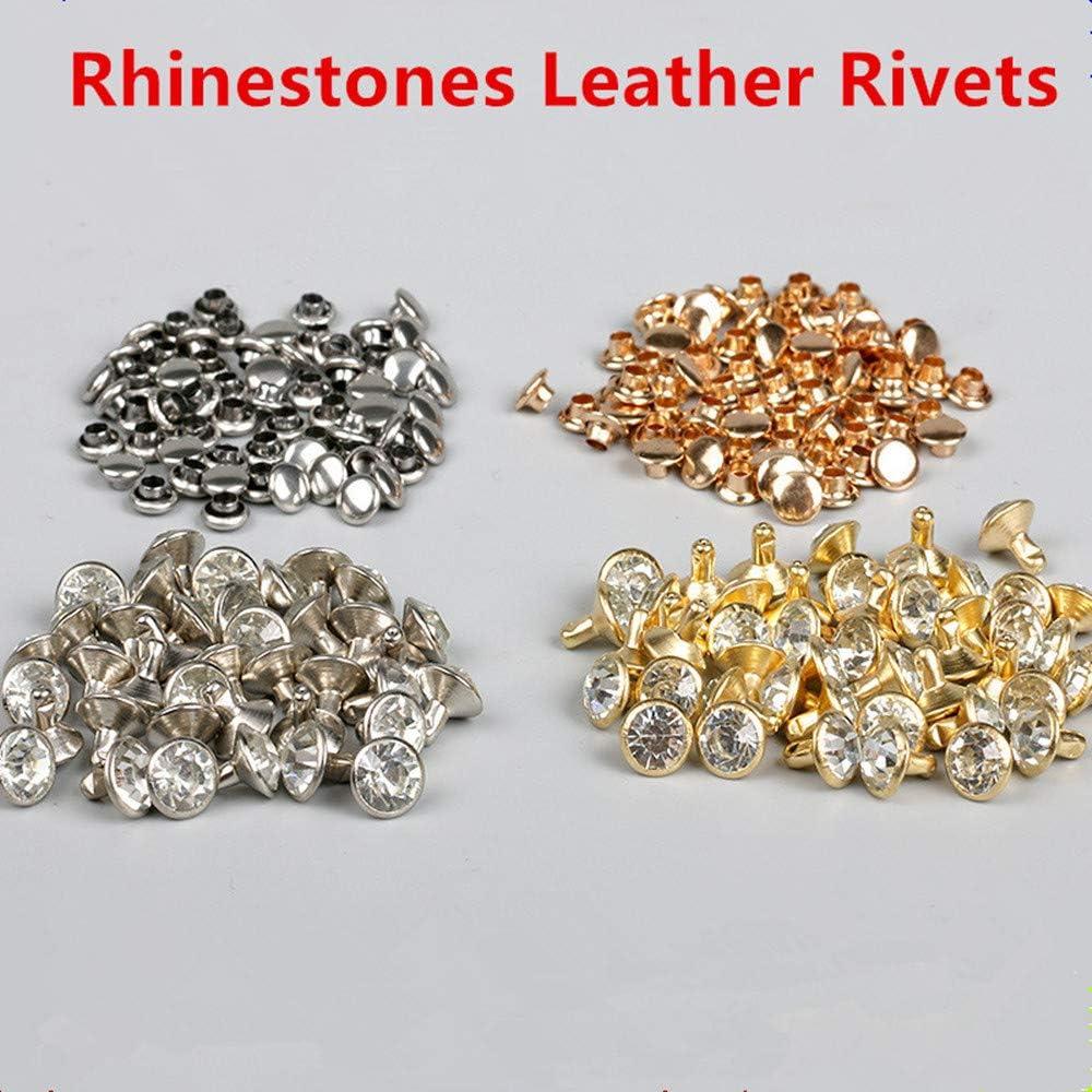 Pink Glass Rhinestones Rivets Studs 0.31 inch 10 pieces