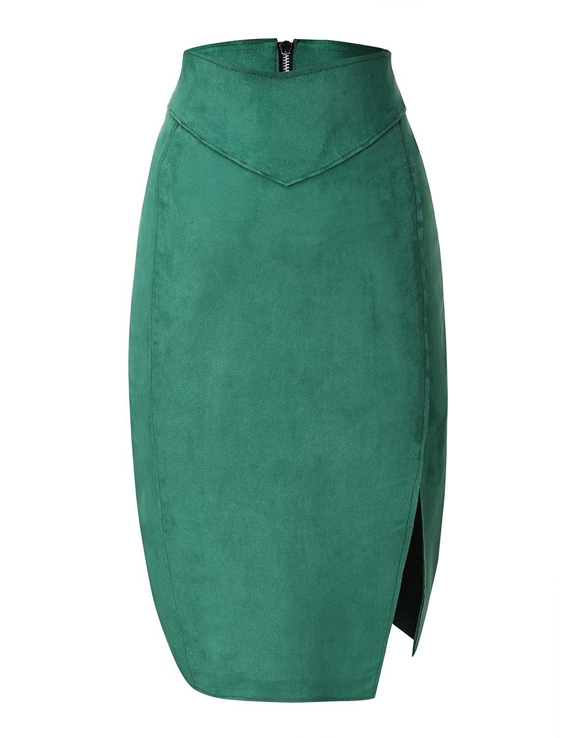 694d01afd Amazon.com: Bellivera Women's Faux Suede Pencil Skirt Hip Wrapped Back  Split for Spring: Clothing