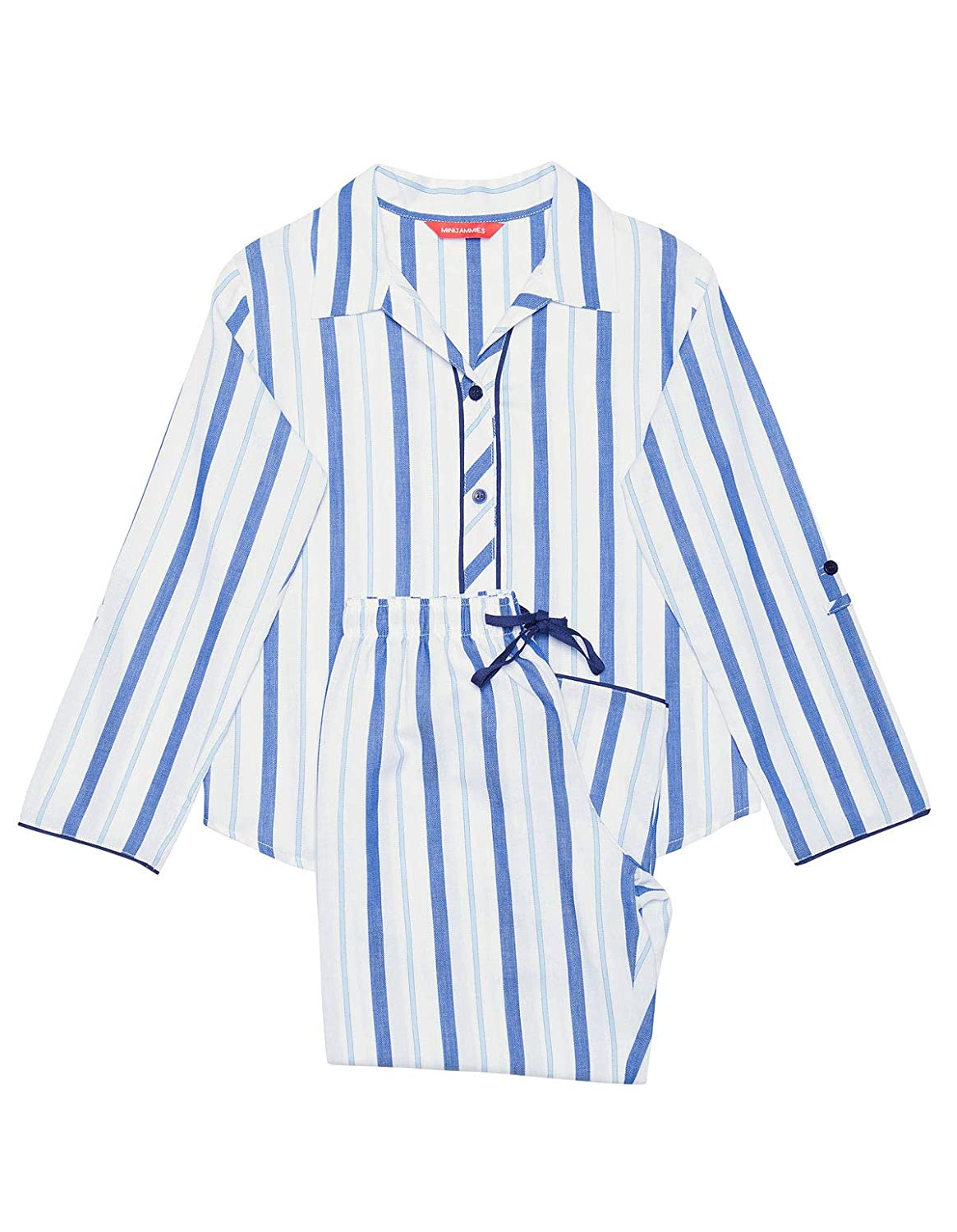 Minijammies 5266 Girls Ophelia Blue Striped Cotton Pajama Pyjama Set
