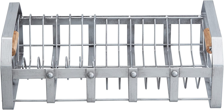 Amazon Com Kitchencraft Industrial Kitchen Vintage Style Metal Dish Drainer Rack With Wooden Handles 40 5 X 25 5 X 12 5 Cm 16 X 10 X 5 Grey