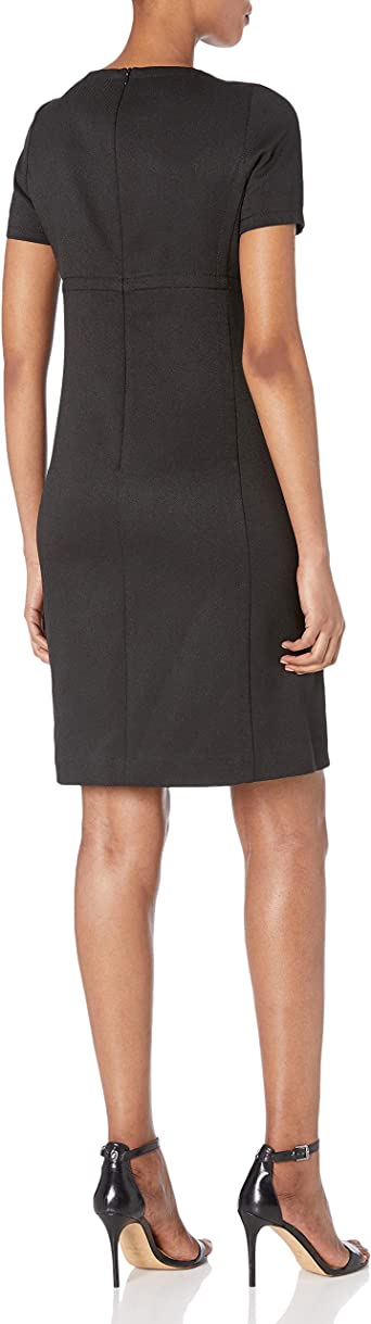 Anne Klein Damska Short Sleeve Shift Dress Kleid: Odzież