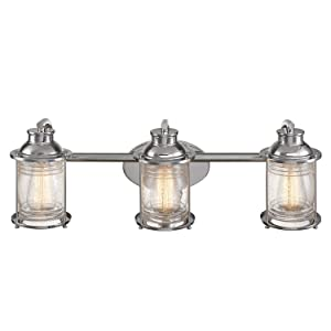 Globe Electric Bayfield 3 Vanity Light Finish, Ribbed Seeded Glass Shades 51272, Chrome
