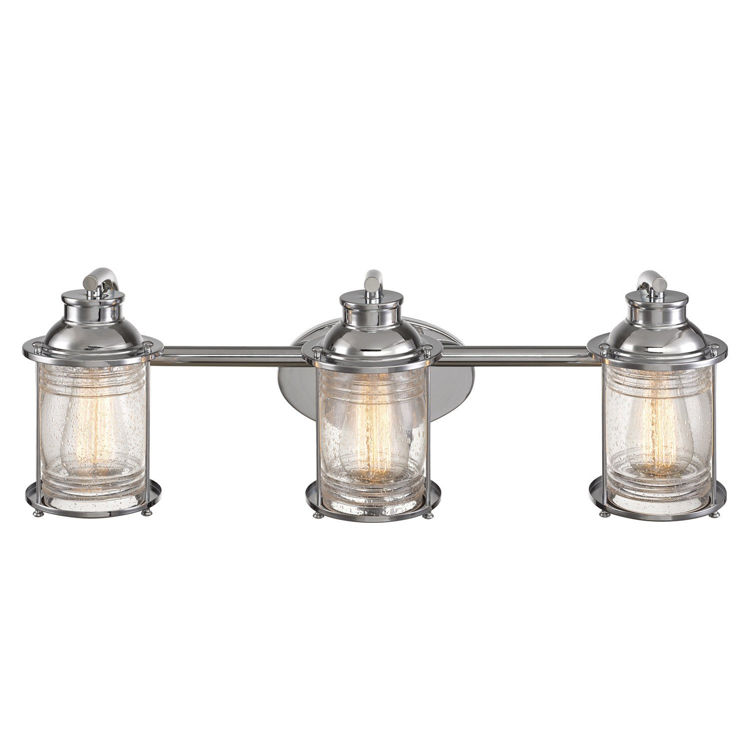 Globe Electric 51272 Bayfield 3 Vanity Light Finish, Ribbed Seeded Glass Shades, Chrome
