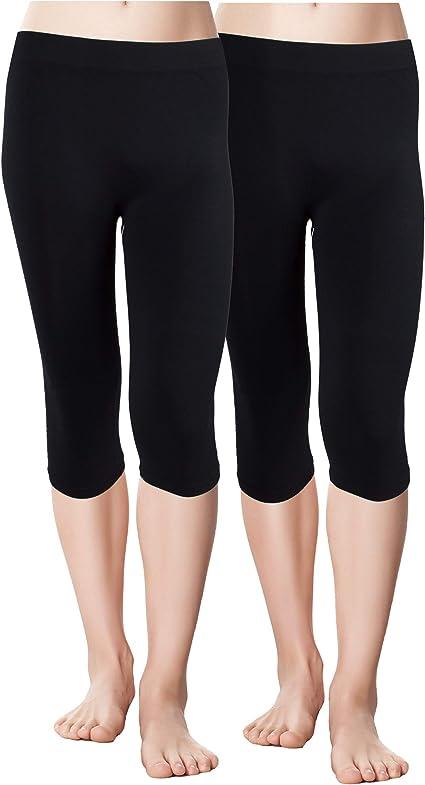 Red Bene Womens Microfiber Seamless Capri Leggings