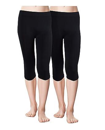 49cfa7afd2e Red Bene Women's Microfiber Seamless Capri Leggings, Large 2 Pack Black