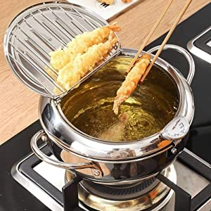 PUJIA Japanese Style Deep Frying Pot Thermometer Stainless Steel Tempura Fryer Pan Temperature Control Fried Chicken Pot Cooking Tools Kitchen Utensil