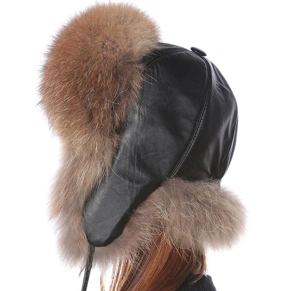 Valpeak Womens Winter Real Fox Fur Hat Genuine Leather Russian Trapper Ushanka Hats(Raccoon)