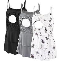 Jezero Women's Maternity Nursing Tank Tops 3 Pack Sleeveless Nursing Shirts Breastfeeding Clothes