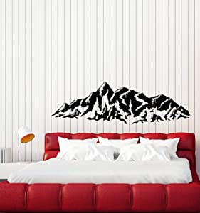 Vinyl Wall Decal Mountains Nature Bedroom Snowy Peaks Stickers Mural Large Decor (g4459) Black