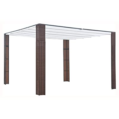 """HomyDelight Canopy, Gazebo with Roof Poly Rattan 118.1""""x118.1""""x78.7"""" Brown and Cream: Home & Kitchen"""