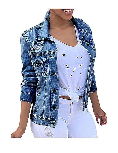 Minetom Mujeres Corto Chaquetas Jacket De Mezclilla Abrigo Denim Jacket Azul ES 34