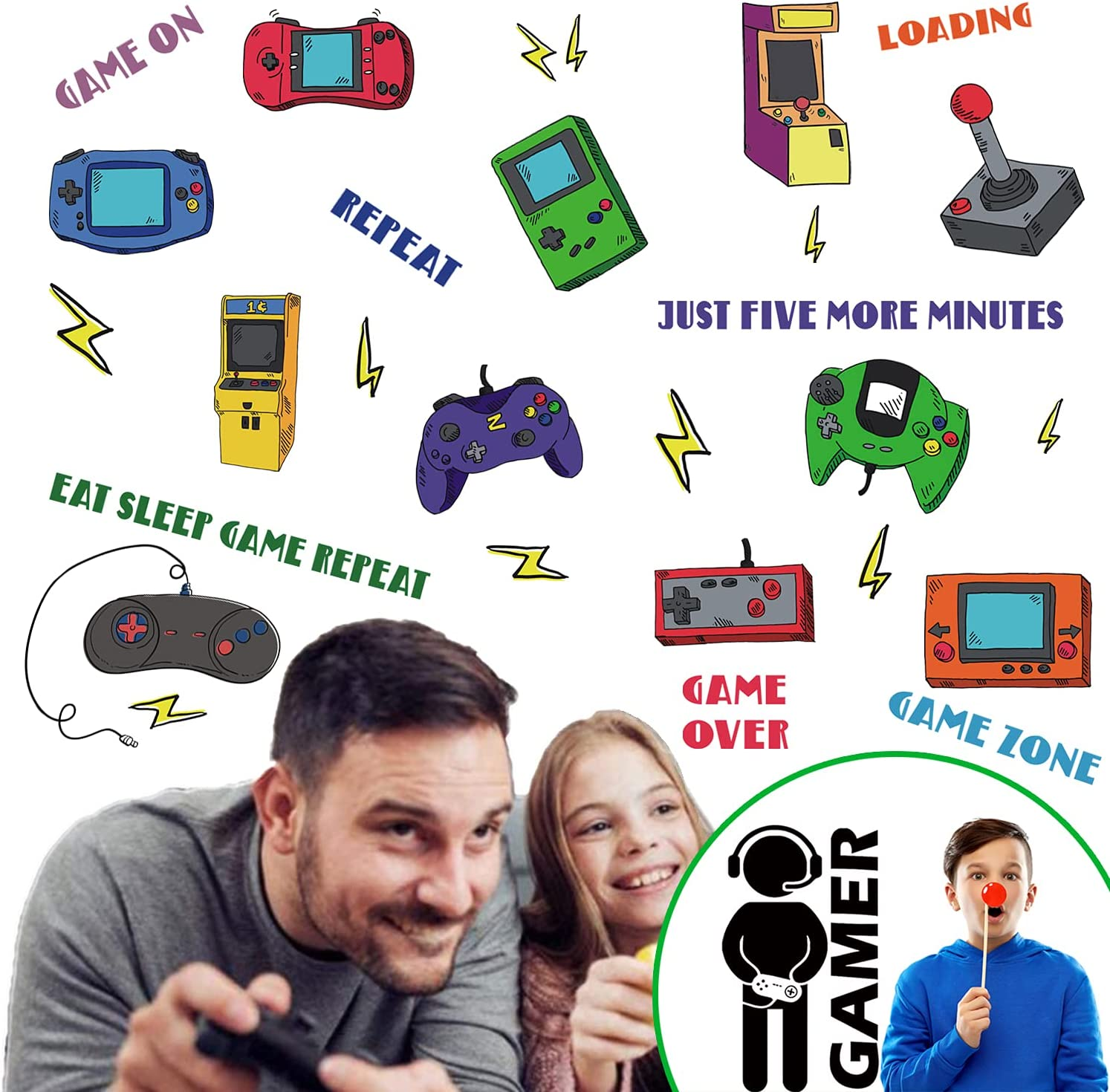 45 Pieces Gamer Wall Stickers Video Game Wall Decals, Cool Gamer Controller Classic Game Phrases Boys Room Decor - Removable DIY Cartoon Party Wallpaper Posters for Boys Kids Gamer Bedroom Playroom