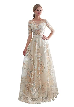 1c3b41d5dae Elegant Lace Evening Dresses Three Quarter Sleeves Formal Gowns Long 30660  at Amazon Women s Clothing store