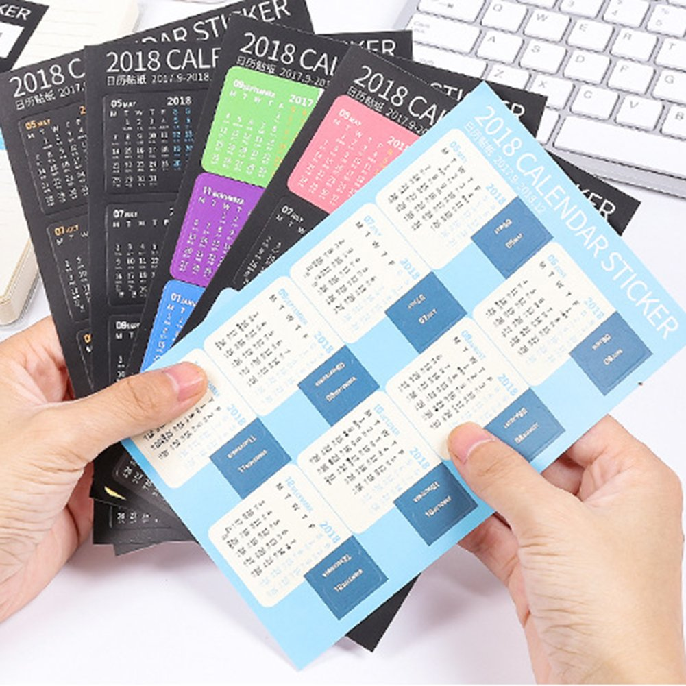 Shuohu 2018 Calendars Stickers for Bullet Journal/Planners/Agenda, Easy to Peel Self Adhesive Tabs, 2 Sets