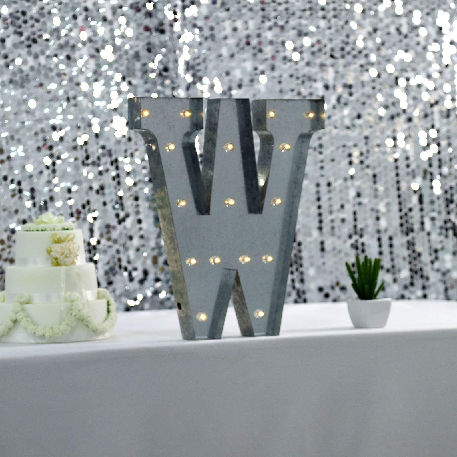 Efavormart 2 FT | Vintage Metal Marquee Letter Lights Cordless with 16 Warm White LED - W by Efavormart