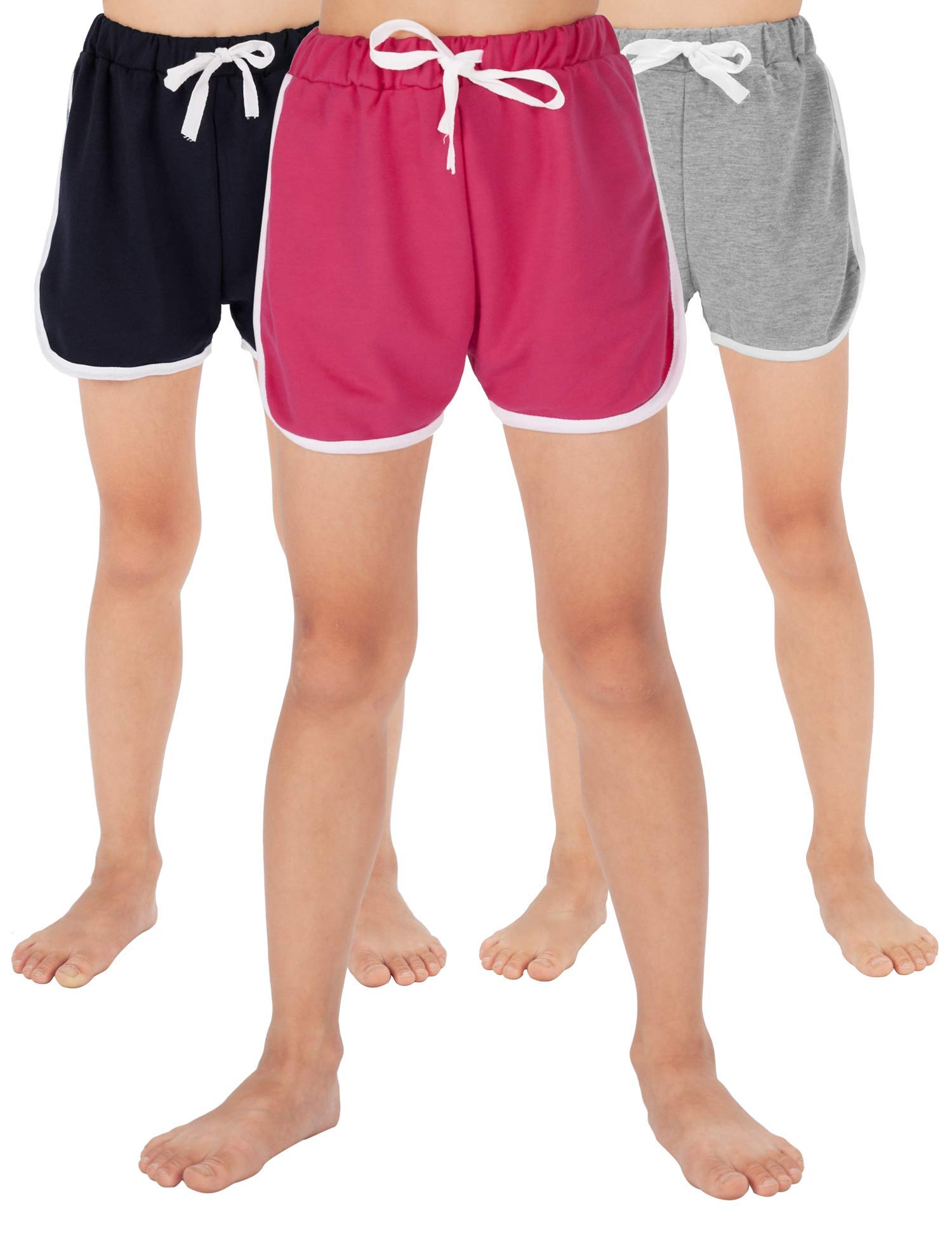 WEWINK PLUS Girls Cotton Shorts 4-13 Years (Gray+Rose red+Navy Blue, 11-13 Years)