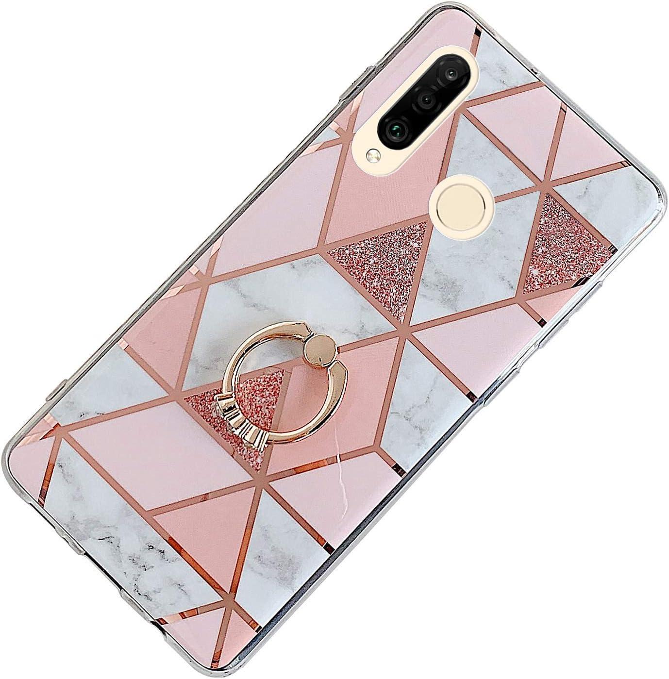 Saceebe Compatible avec Huawei P30 Lite Coque Silicone Motif G/éom/étrique Marbre TPU Housse Etui Souple Coque avec T/él/éphone Anneau Bague Support Paillette Brillant Strass,Rose